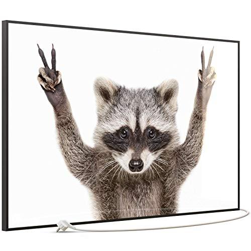 STEINFELD Heizsysteme® Wandheizung Glas Bild Infrarotheizung mit Thermostat | Made in Germany | viele Motive 350-1200 Watt Rahmen schwarz (900 Watt, 066 Waschbär)