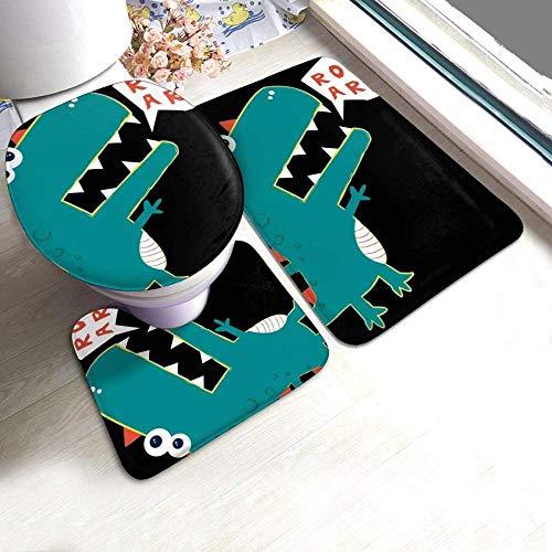 kglkb 3-Teiliges Rutschfestes Badteppich-Set Cartoon Wilder Stegosaurus Anti-Rutsch-Polster Badematte + Kontur + Toilettendeckel Die Beste Wahl Für Die Inneneinrichtung Im Badezimmer