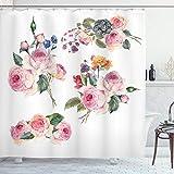 ABAKUHAUS Rose Duschvorhang, Englisch Wild Roses Bouquet, Digital auf Stoff Bedruckt inkl.12 Haken Farbfest Wasser Bakterie Resistent, 175 x 200 cm, Multicolor