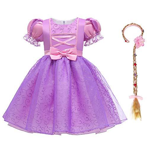 Vestito da Principessa Rapunzel Bambina Carnevale Cosplay Costume Ragazza Manica a Sbuffo Corte Abito Vestiti con Parrucca Operato Festa Compleanno Halloween Natale Bambine e Ragazze 11-12 Anni