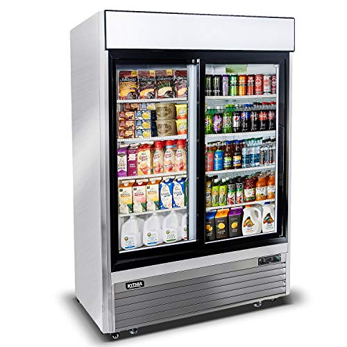 KITMA 44.8 Cu.Ft Sliding Glass 2 Door Merchandiser Refrigerator - Commercial Display Beverage Cooler with LED Lighting, 33-38 Degrees Fahrenheit