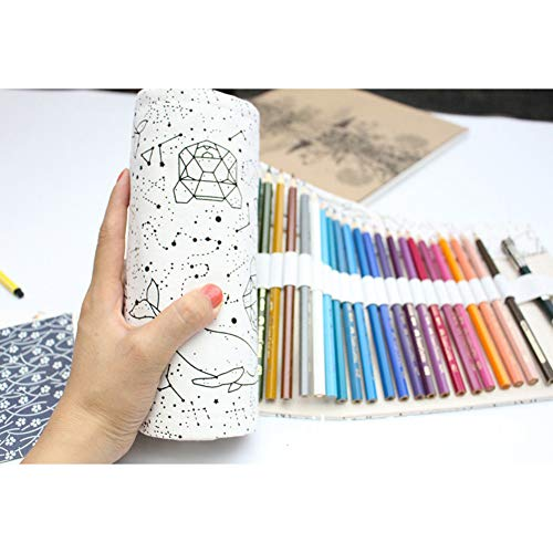 DishyKooker High Capacity Pencil Case Schule Leinwand Rollbeutel Comestic Makeup Brush Case Stift Lagerung Schwarze Konstellation 72 Löcher articulos de producto