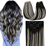 LaaVoo Clip in Hair Extensions Real Human Hair Ombre Off Black to Silver Grey Highlights 18' 5Pcs 70g Natural Hair Clip in Extensions Silky Soft