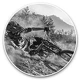 Impresionantes pegatinas de vinilo (juego de 2) 7,5 cm (bw) – Divertidas calcomanías de ciclismo de montaña para portátiles, tabletas, equipaje, reserva de chatarras, neveras, regalo genial #38695.