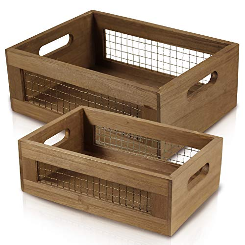Set of 2 Nesting Countertop Baskets - Wooden Organizer Crates for Kitchen, Bathroom, Pantry | For Fruit, Vegetables, Produce, Bread and General Storage Space | Decorative Rustic Wood and Metal Wire
