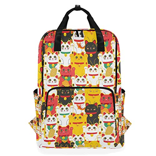 Maneki-Neko Cat Student Backpack Shoulder Bag Elementary School Bookbag for Boys Girls