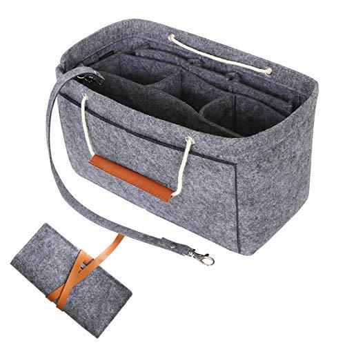 HyFanStr Organizer Borsa Donna, Organizer Interno Borsa per Borsette Bag in Bag Organizer Tote Organizer con Borsa a Spazzola Deep Grey