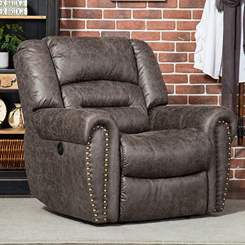 ANJ Electric Recliner Chairs W/Breathable Bonded Leather, Overstuffed Power Reclining Chair with USB Port, Motorized Recliners Single Sofa (Smoke Gray)