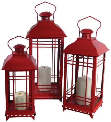 Melrose International Metal and Glass Lantern, Red, Set of 3