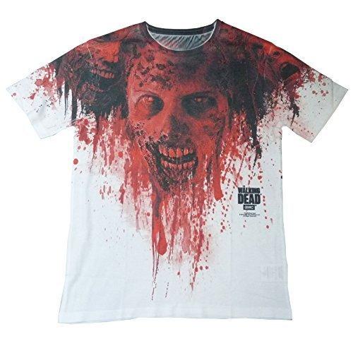 Walking Dead Chaussures de marche Sang De manches AMC OFFICIAL Sublimation T-Shirt unisexe blanc jusqu'au XXL - Blanc, Homme, Small / 91cm