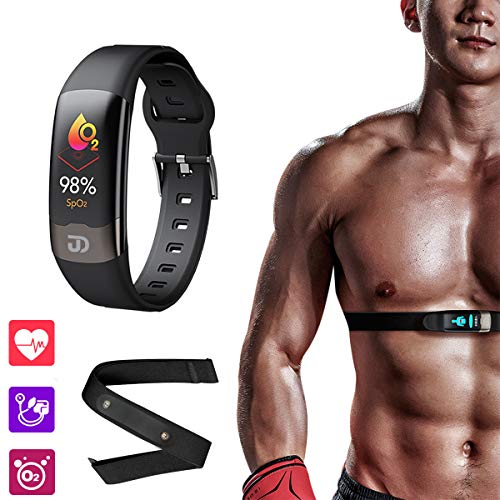 Jiandi SPO2 Blood Oxygen Monitor Fitness Tracker with Heart Rate Chest Strap, IP67 Waterproof Blood Pressure HRV Health Sleep Smart Watch Activity Tracker with Calorie Counter, Pedometer(Black)