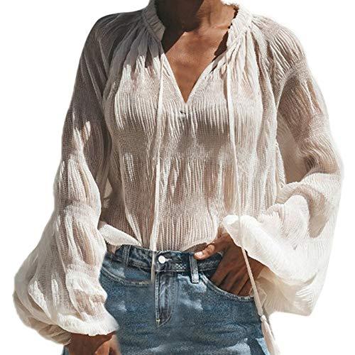 amisas Mujer,Blusas para Mujer Vaquera Sexy Gasa Tops Camisetas Mujer Cremallera Manga Corta Blusas