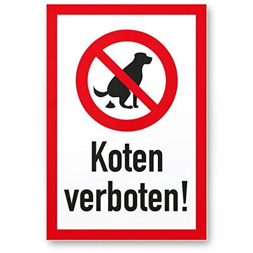 Hundeschild Koten Verboten - Wiese, Kunststoff Schild Hunde kacken verboten - Verbotsschild/Hundeverbotsschild, Verbot Hundeklo/Hundekot/Hundehaufen