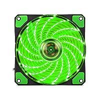 Tickas PCの箱ファン12CMの無声LEDのより涼しいファンの強い風15 LEDの緑色ライト