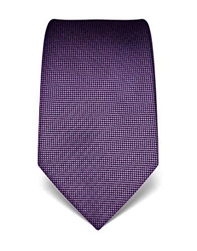 Vincenzo Boretti Herren Krawatte reine Seide strukturiert edel Männer-Design zum Hemd mit Anzug für Business Hochzeit 8 cm schmal/breit lila