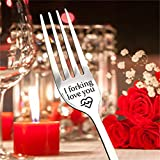 NEW HE Stainless Steel Engraved Fork, Unique Carving Fork, Personalized Letter I Forking Love You Dessert Fork Fine Flatware, Best Gifts for Valentines Day, Wedding (I Forking Love You)