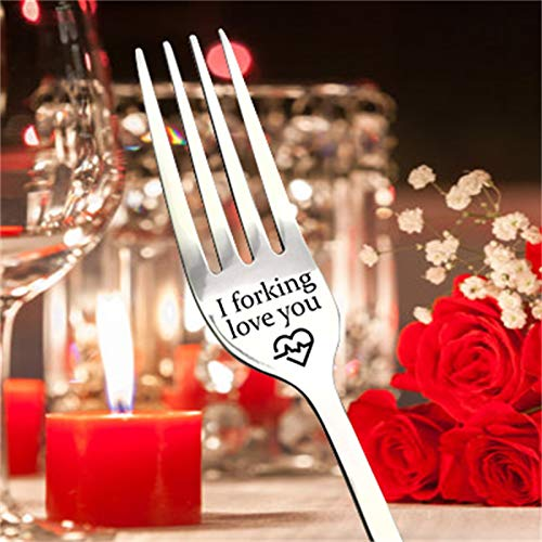 Forks and Spoons Silverware - Christmas Engraved Fork - Tableware Set for 8, Funny I Forking Love You Stainless Steel Fork Tableware-Best Gift for Husband Wife Anniversary Valentines Gifts (F)