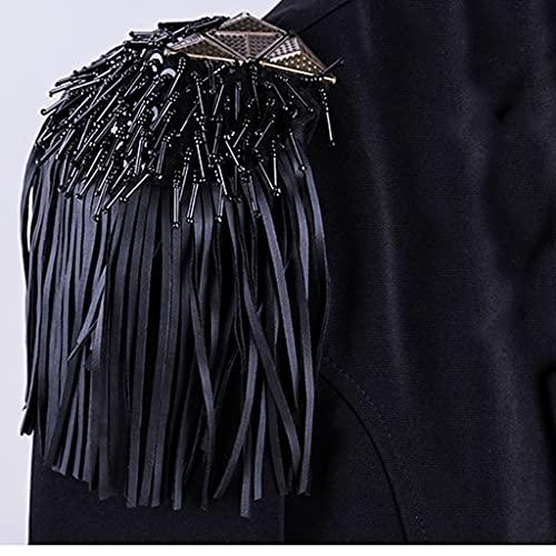 DYXYH Rhinestones con Cuentas Blazer Fringe Tassel Metal Hombro Epaulette Spikes Broche Mujeres Traje Accesorios (Color : Black)