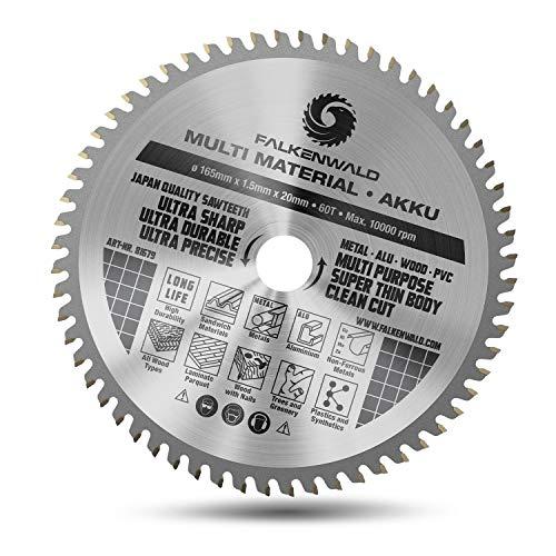 FALKENWALD® Sägeblatt 165 x 20 mm für Makita Tauchsäge (Multi-Material & Akku) - Hochwertiges Kreissägeblatt 165x20 mm aus Hartmetall - kompatibel mit Dewalt, Bosch, Makita SP6000