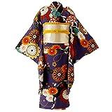 [キャサリンコテージ] 女の子 ジュニア 卒業式 着付け簡単 着物セット WASET02 160cm 紫色華手毬猫[PU] TAK