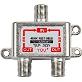 YOU+ アンテナ2分配器 4K 8K UHF VHF FM BS CS 地デジ CATV 対応 全端子通電型