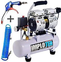480W Tyst viskning kompressor tryckluft kompressor 48dB tyst oljefri kompressor inkl. utbblåspistol och tryckluftsslang IMPLOTEX