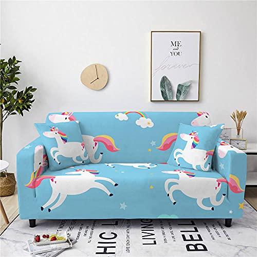 Copridivano 2 Posti,Fodera per Divano Stampato, Copridivani Universale Sofa Mobili Protettore Con 2 Fodera Cuscino - Blu, Bianco Arcobaleno Cavallino Bianco