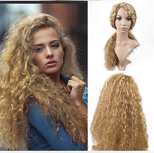 Golden Wigs for Black Women Long Curly Wavy Synthetic Wigs with Middle Parting Natural Lightweight Heat Resistant Premium Yaki Hair with Free Wig Caps