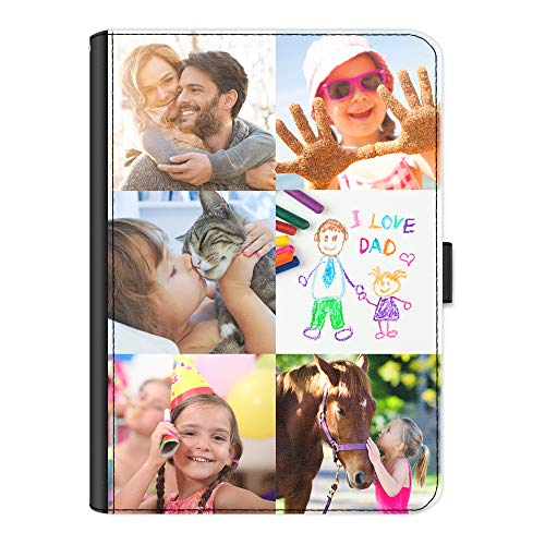 Personalised Case For Apple iPad Air (2013), 360 Swivel Leather Side Flip Cover, Personalize With Image, Customise with Photo Collage - Six Image, Equal Size, Borderless, Layout A