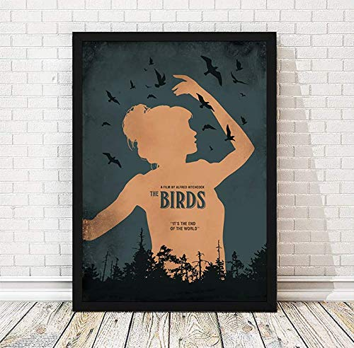 The Birds Alfred Hitchcock Minimalist Movie Poster, Artwork Print, Cafe Decor, Wall Hanging, Office Decor, Home Decor, Horror Movie Poster, Unframed Print