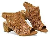 MVE Shoes Women's Open Toe-Ankle Low Heeled-Sandals, Elect TAN NBPU 10