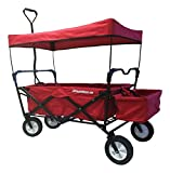 EasyGoProducts EGP-WGN-001-R EasyGo Sports Heavy Duty Folding All Terrain Utility Garden – Beach – Camping Red Wagon Cart with Collapsible Sturdy Steel Frame