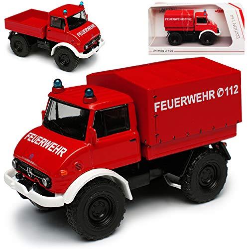 Mercedes-Benz Unimog Pritsche mit Aufbau U406 Feuerwehr Rot 1977 LKW Truck 1/64 Schuco Modell Auto