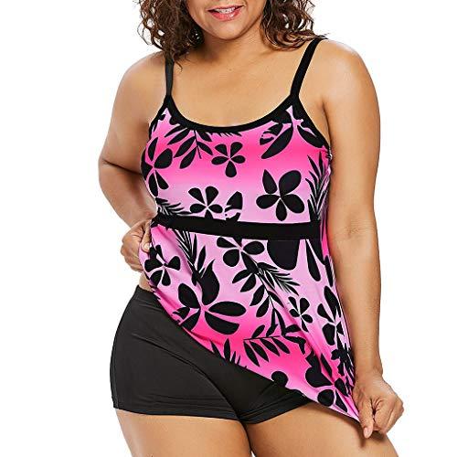 Kaister Damen Bikini Set Blumendruck Volant Hohe Taille Tankini Set Bademode Badeanzug Große Größen Sport Zweiteiliger Badeanzug