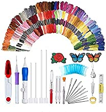 136pcs/Set Magic Embroidery Pen Punch Needle Embroidery Patterns Punch Needle Kit Craft Tool Embroidery Pen Set, Threads for Sewing Knitting DIY Threaders