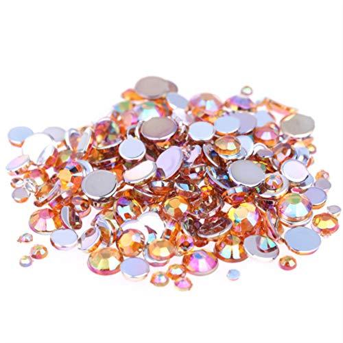 Multi-couleur AB Strass Top Qualité ronde Non Hotfix Flatback Acrylique Strass Pour les vêtements DIY Nail Art Décorations, Orange, 3mm 10000pcs