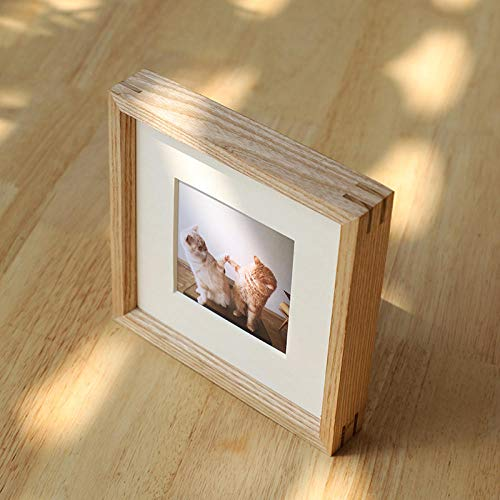 QKEMM Bilderrahmen personalisiertes Geschenk Souvenir Einfacher Bilderrahmen Massivholz Set Tisch+Wandbehang 15,2×15,2cm Holzfarbe