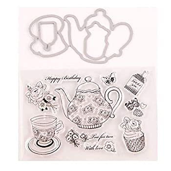 Teapot Teacup Cake Flower Clear Rubber Stamps and Dies for Card Making Scrapbooking Crafts Metal Cutting Dies Birthday Stamps