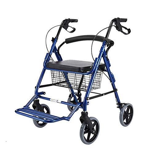 Elektrischer Rollstuhl-Rollator-Walker mit Sitz, Rolling Walker aus Aluminiumlegierung mit 8-Zoll-Rädern Unterstützt bis zu 350 Pfund, Medical Walker, Burgund, 3