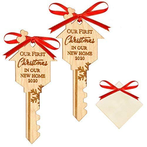 WAVEJOE 2020 Christmas Ornament Our First Christmas in Our New Home Wooden Key Shape Housewarming Gift Xmas Tree Decoration 2 Pack