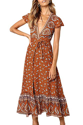 ZESICA Women's Bohemian Floral Printed Wrap V Neck Short Sleeve Split Beach Party Maxi