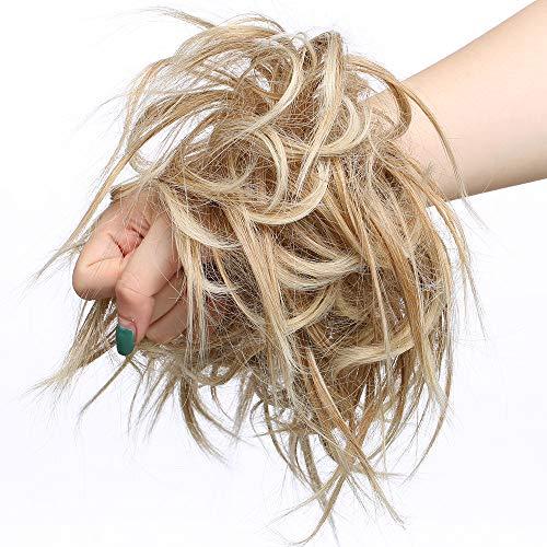 SEGO Haarteil Haargummi lockig Hochsteckfrisur Haarknoten Haarband Haar Extension natürlich 45G Kaffee Braun & Blond #27T613