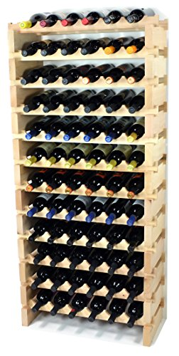 Modular Wine Rack Pine Wood 24-72 Bottle Capacity Storage 6 Bottles Across up to 12 Rows Stackable Newest Improved Model (72 Bottles - 12 Rows)