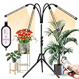 Grow Lights for Indoor Plants, Aokrean 4 Head 80 LED Floor Plant Light with Stand for Tall & Large Plants, 4/8/12H Timer,10 Dimmable Levels, Growing Lamps Tripod Adjustable 11-63 Inch