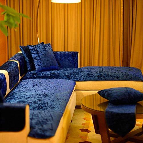 GLF Funda de sofá de terciopelo de color liso, con sección elástica, en forma de L, 1 protector de muebles para 1, 2, 3 y 4, funda de almohada de sofá azul marino, 45 x 45 (sin núcleo)