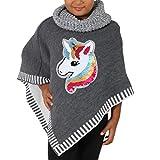 Candygirls - Poncho para niña con lentejuelas reversibles gris 98/104 cm
