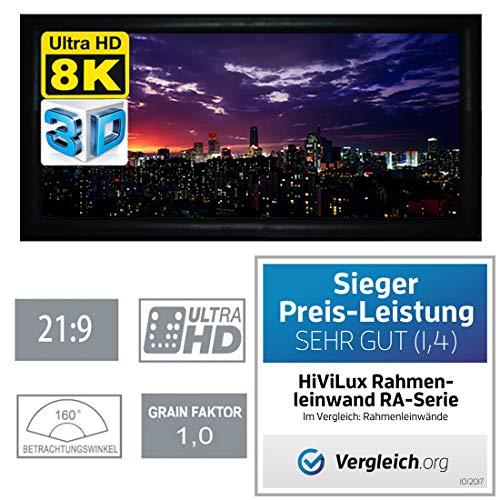 HiViLux Rahmenleinwand Gain 1,0 Weiss Tuch aus professionell Kinofolie/3D/4K/UHD/ALU Rahmen/Kein Glitzereffekt o.Hotspot (21:9 Bild:269x115cm 115