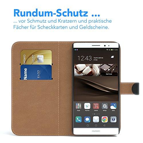 EAZY CASE Tasche kompatibel mit Huawei Mate 8 Schutzhülle mit Standfunktion Klapphülle im Bookstyle, Handytasche Handyhülle Flip Cover mit Magnetverschluss und Kartenfach, Kunstleder, Schwarz - 3