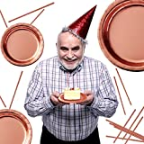 iZoeL Partygeschirr Rosegold Tischdecke Teller Becher Servietten Strohhalme Popcorn Tüten für Mädchen Party Hochzeit Kinder Geburtstag (60pcs Partyteller) - 3