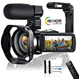 """Caméscope 4K Caméra Vidéo 48MP WiFi 60FPS Caméscope Numerique HD avec écran Tactile 3,0""""à Vision Nocturne Infrarouge Camescope avec Microphone,stabilisateur de Main, Pare-Soleil et Fonction Youtube"""